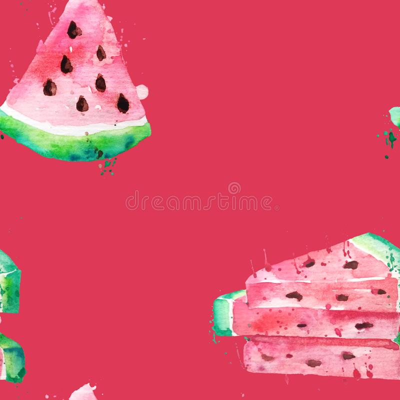 Seamless pattern Watercolor drawing of slices of watermelons with seeds and paint splashes. Large pieces of watermelon on a red royalty free illustration