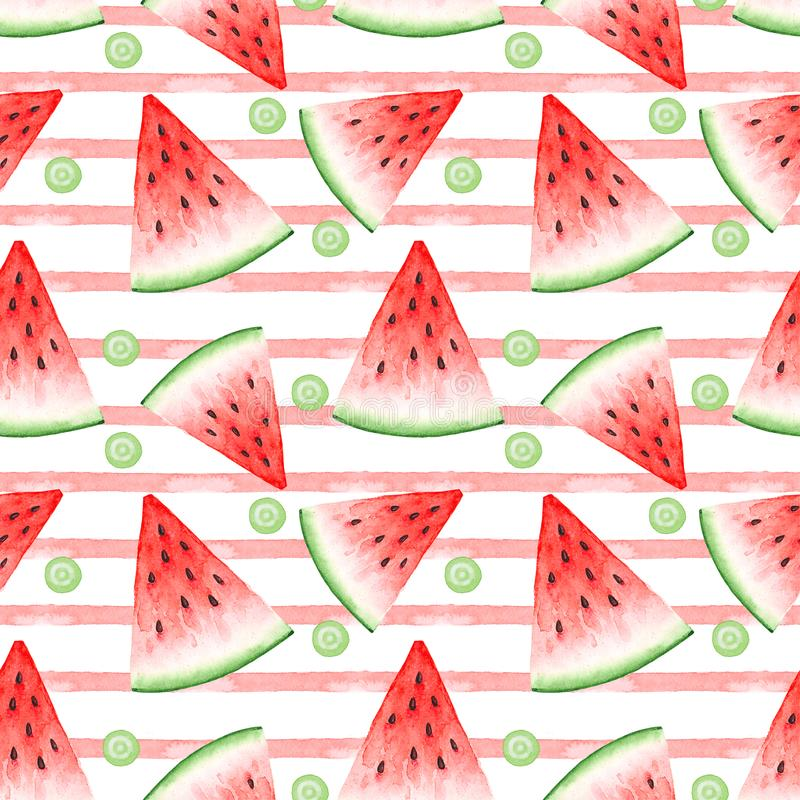 Seamless pattern of watercolor drawings of red watermelon slices and pink stripes. On white background vector illustration