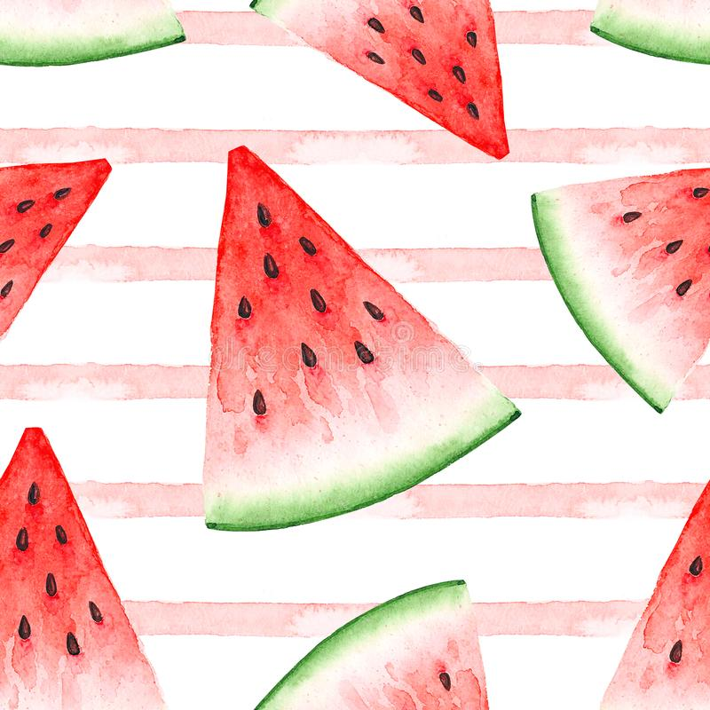 Seamless pattern of watercolor drawings of a slice of red watermelon. Seamless background of watercolor drawings of a slices of red watermelon on a white vector illustration