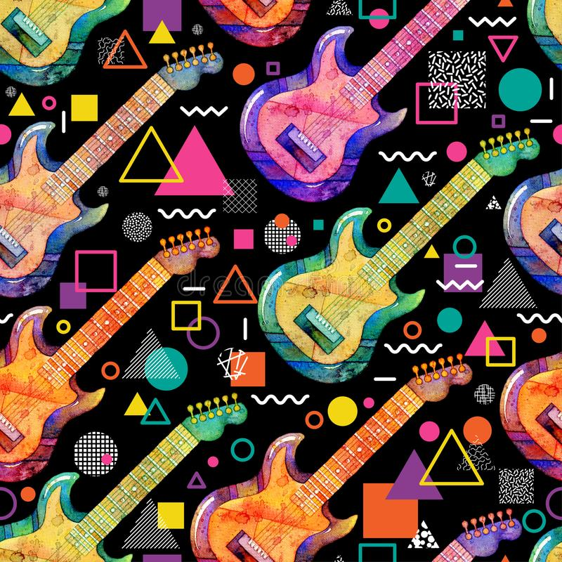 Seamless pattern with watercolor electric guitar and decorative geometric elements on black background. vector illustration