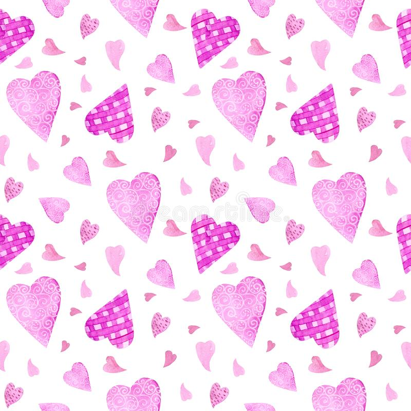 Seamless pattern with watercolor elements of hearts, balls, key, love letter, flowers, hearts and arrows. Background for wedding royalty free illustration