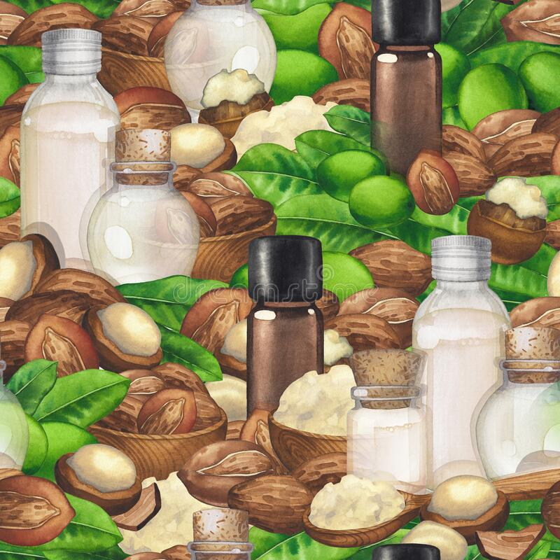 Seamless pattern of watercolor essential oils decorated with shea nuts and leaves royalty free stock photo