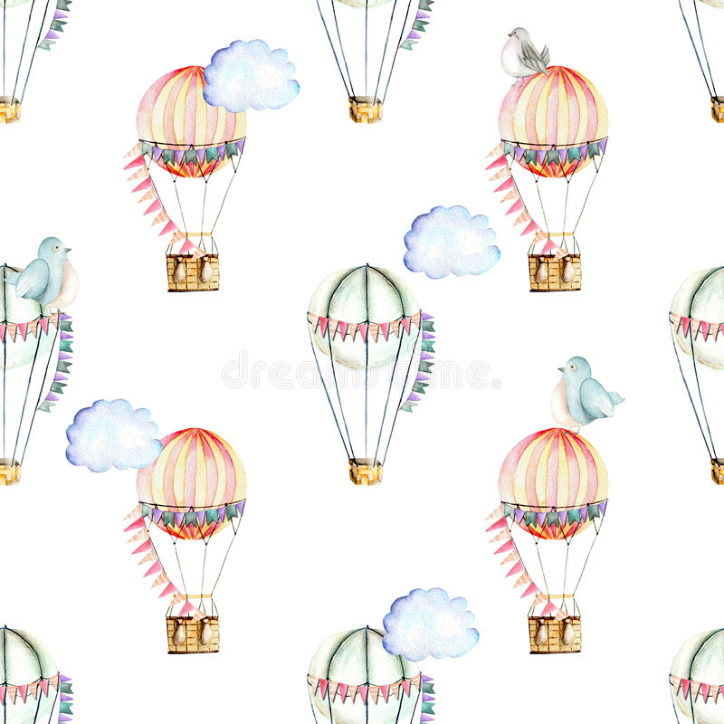 Seamless pattern with watercolor festive air balloons, clouds and cute birds. Hand drawn isolated on a white background vector illustration
