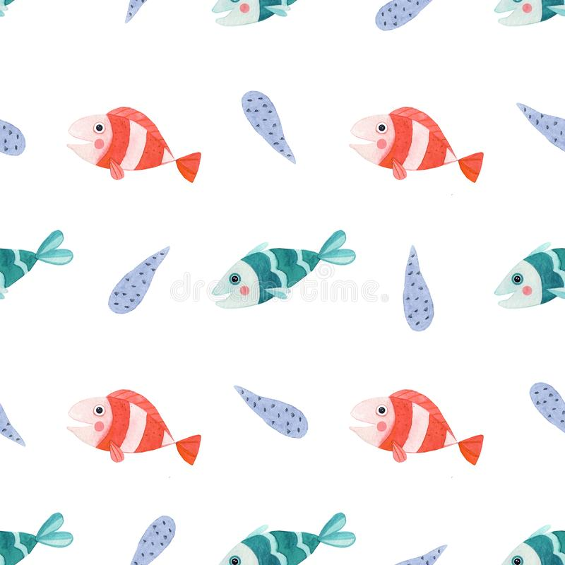 Seamless pattern with watercolor fish vector illustration