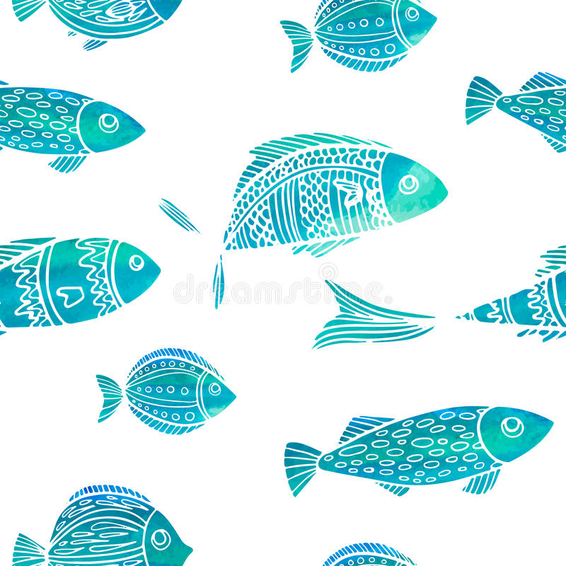 Seamless pattern with watercolor fish. Doodle vector illustration