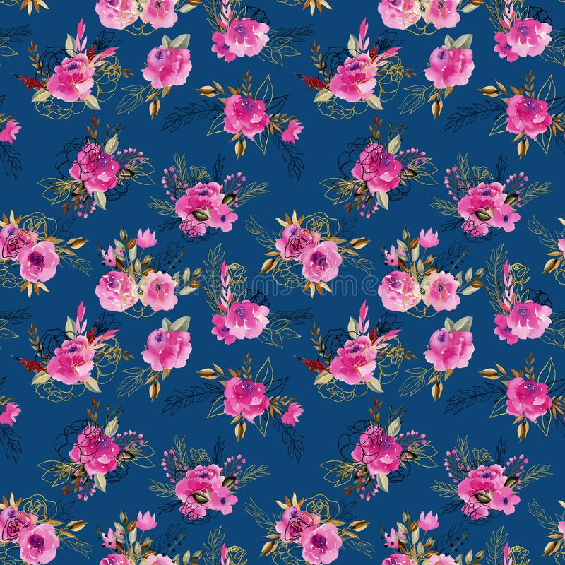 Seamless pattern with watercolor floral bouquets in crimson, brown and golden colors 皇族释放例证