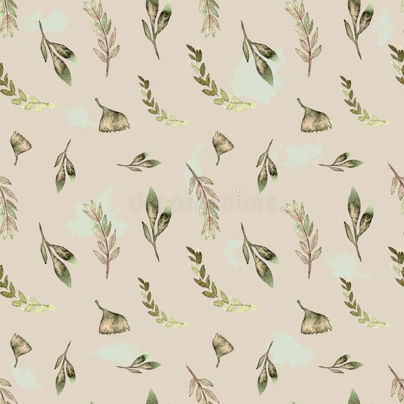 Seamless pattern watercolor floral design green leaves stock illustration