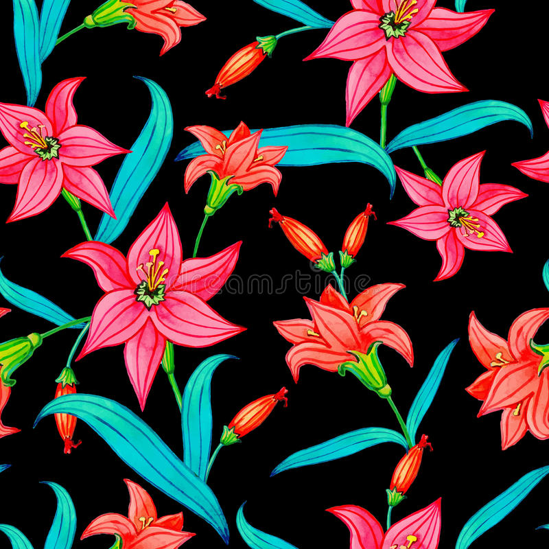 Seamless Pattern Of Watercolor Flowers On A Black