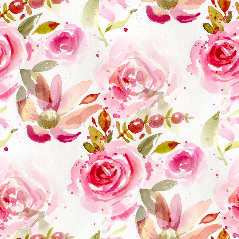 Seamless pattern with watercolor flowers royalty free illustration