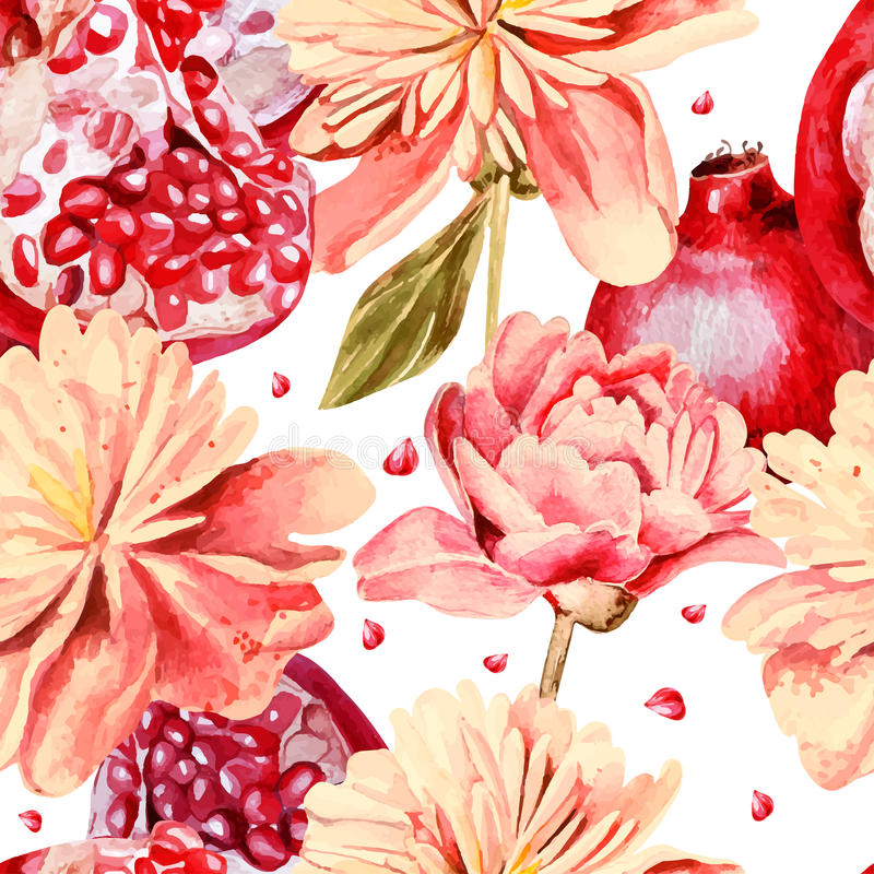 Seamless pattern with watercolor flowers stock illustration