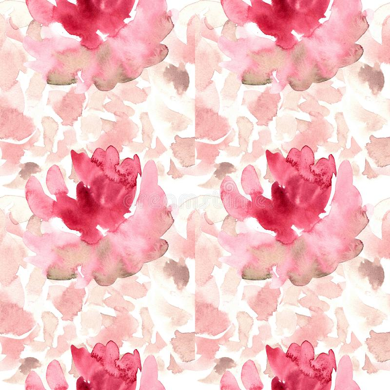 Seamless pattern with watercolor flowers, roses, peonies vector illustration