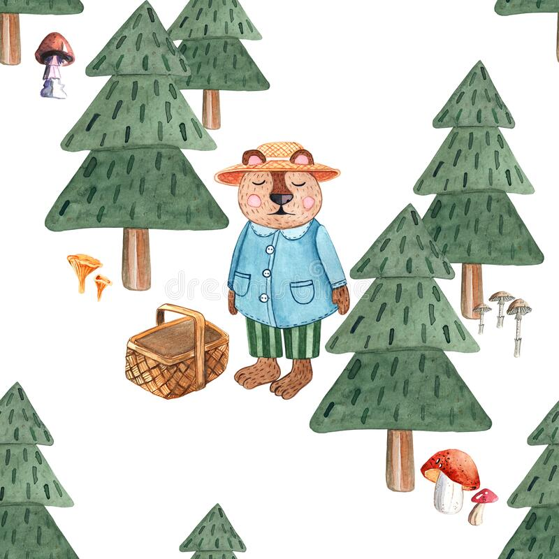 Seamless pattern with watercolor forest, christmas trees, mushrooms and bear with a basket. For kids design royalty free stock photography