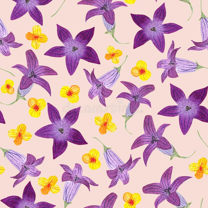 Seamless pattern with watercolor garden bluebells and anemones on warm background. Good design for textile, wallpaper stock illustration