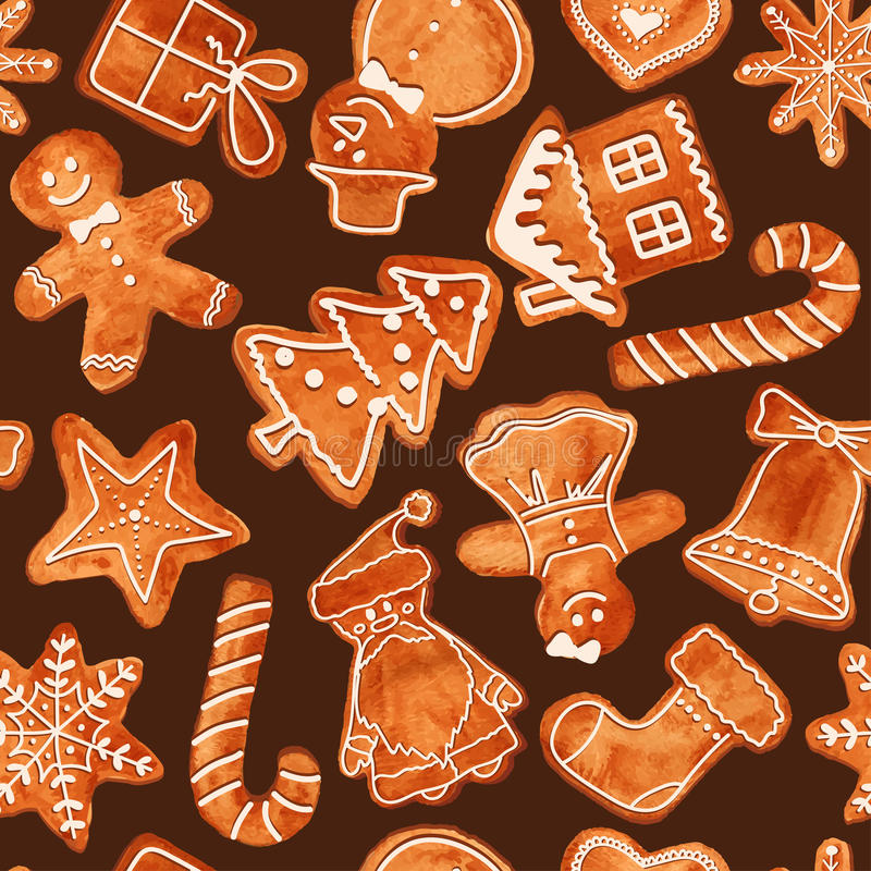 Seamless pattern of watercolor gingerbread cookies vector illustration