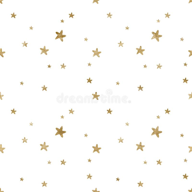 Seamless pattern with watercolor gold abstract stars elements. Baby boy girl background and fabric design. Seamless pattern with watercolor gold abstract stars royalty free illustration