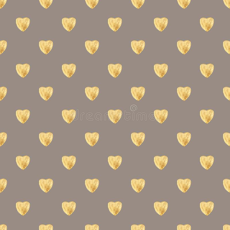 Seamless pattern of watercolor gold hearts on a coffee background. Hand drawing. For gift paper, greetings, textiles, Wallpaper, Valentine`s day, mother`s day stock illustration