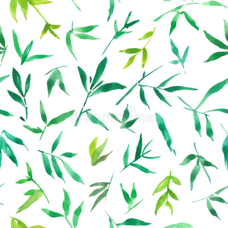 Seamless pattern watercolor of green bamboo leaves, painting plant illustration vector illustration