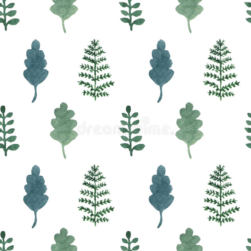 Seamless pattern with watercolor hand draw leaves and branches stock illustration
