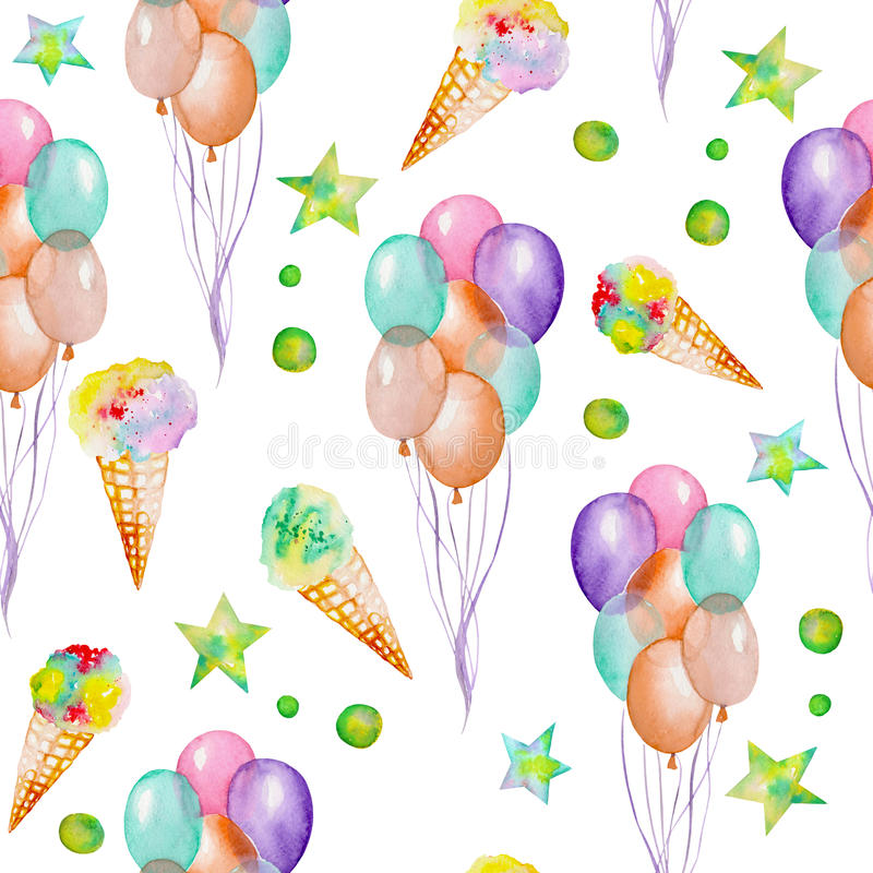 A seamless pattern with the watercolor hand drawn party or circus elements: air balloons, ice cream and stars. Painted on a white royalty free illustration