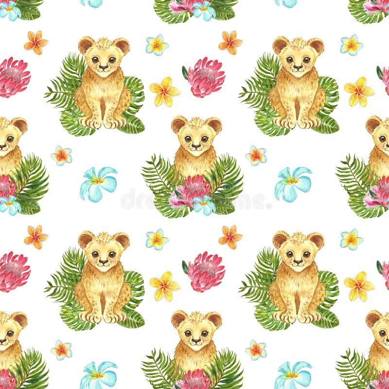 Seamless pattern with watercolor hand painted cute lion cub, green tropical leaves and exotic flowers. Jungle animal print stock image