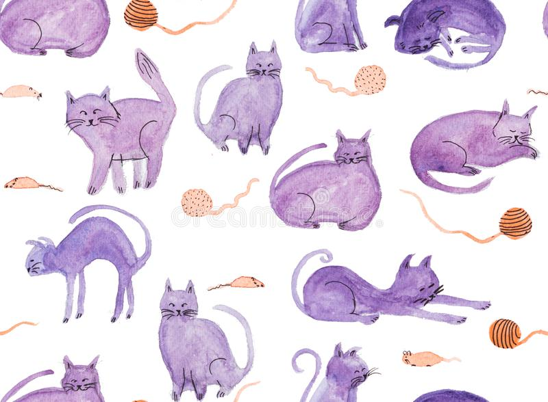 Seamless pattern with watercolor hand painted purple cats and mouses vector illustration