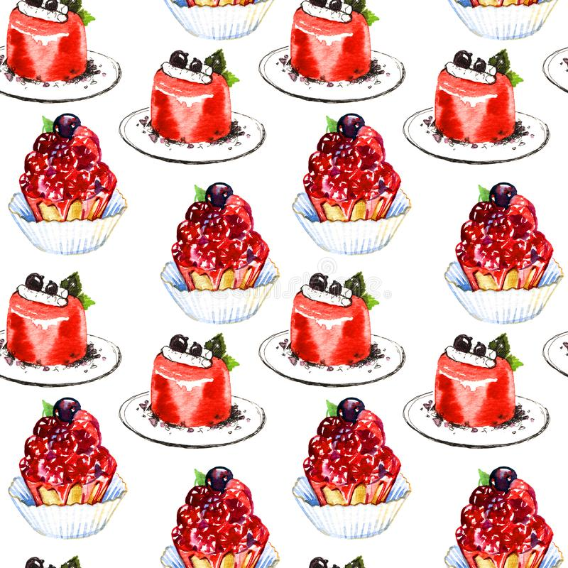 Seamless pattern with watercolor hand painted sweet and tasty cakes with berries. Hand painted fruit dessert background royalty free stock photography