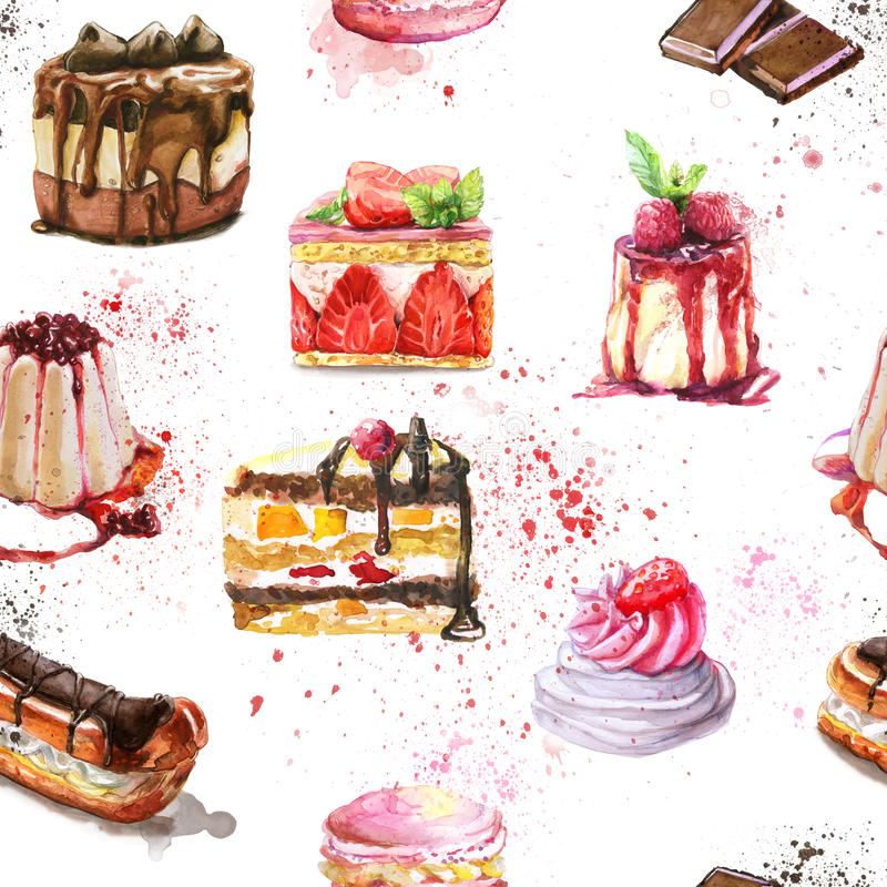 Seamless pattern with watercolor hand painted sweet and tasty cakes royalty free illustration