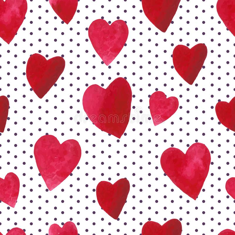 Seamless pattern with watercolor hearts on dots background vector illustration