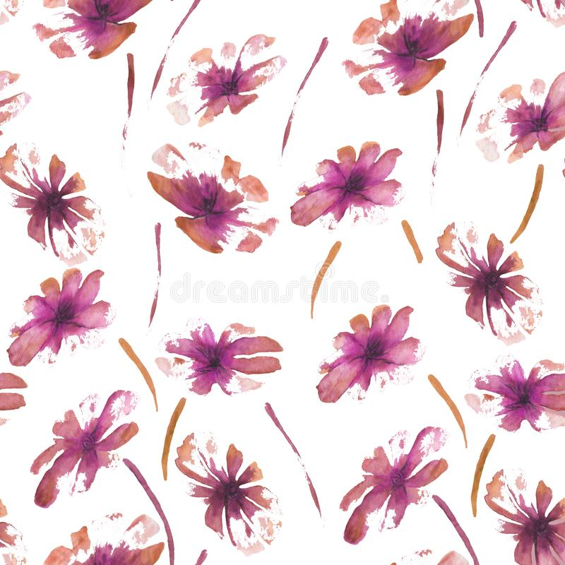 Seamless pattern watercolor illustration of flowers royalty free illustration