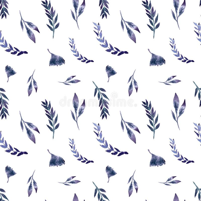 Seamless pattern watercolor with leaves, herbs, ginko vector illustration