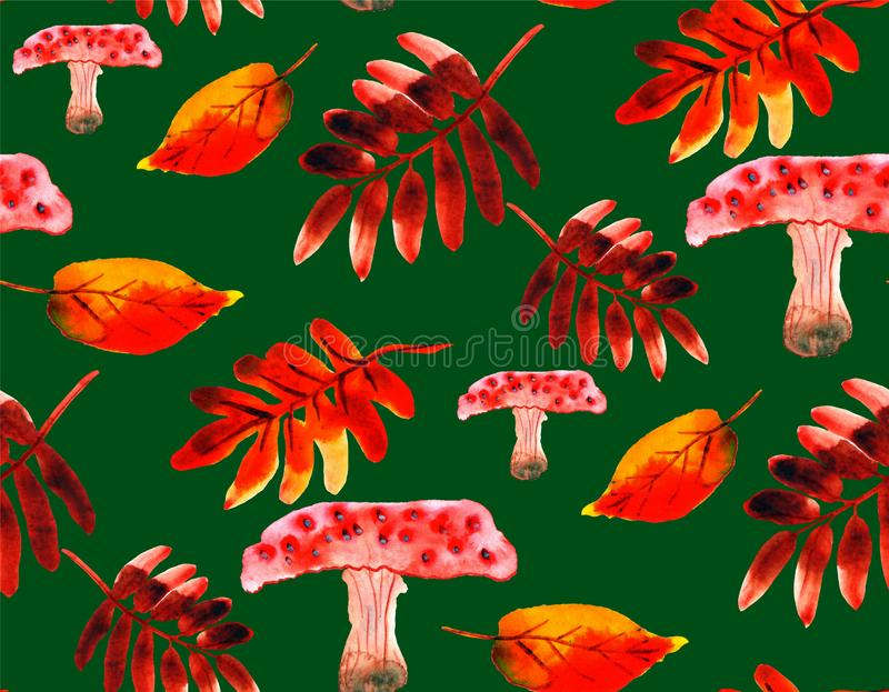 Seamless pattern with watercolor leaves, muchrooms and rowan leaves on green background vector illustration