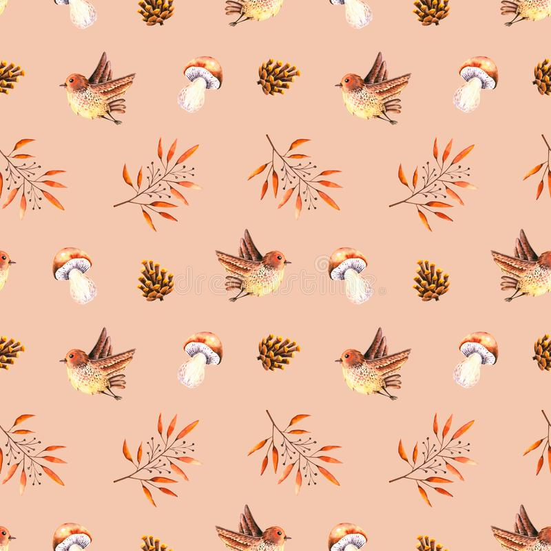 Seamless pattern with watercolor leaves, pine cone, boletus mushroom, flying bird. Illustration isolated. Hand drawn autumn items. Perfect for wallpaper, poster royalty free illustration