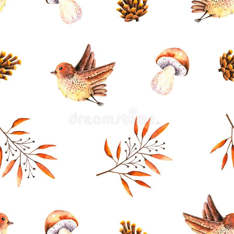 Seamless pattern with watercolor leaves, pine cone, mushroom, bird. Illustration isolated on white. Hand drawn autumn items. Perfect for wallpaper, poster royalty free illustration