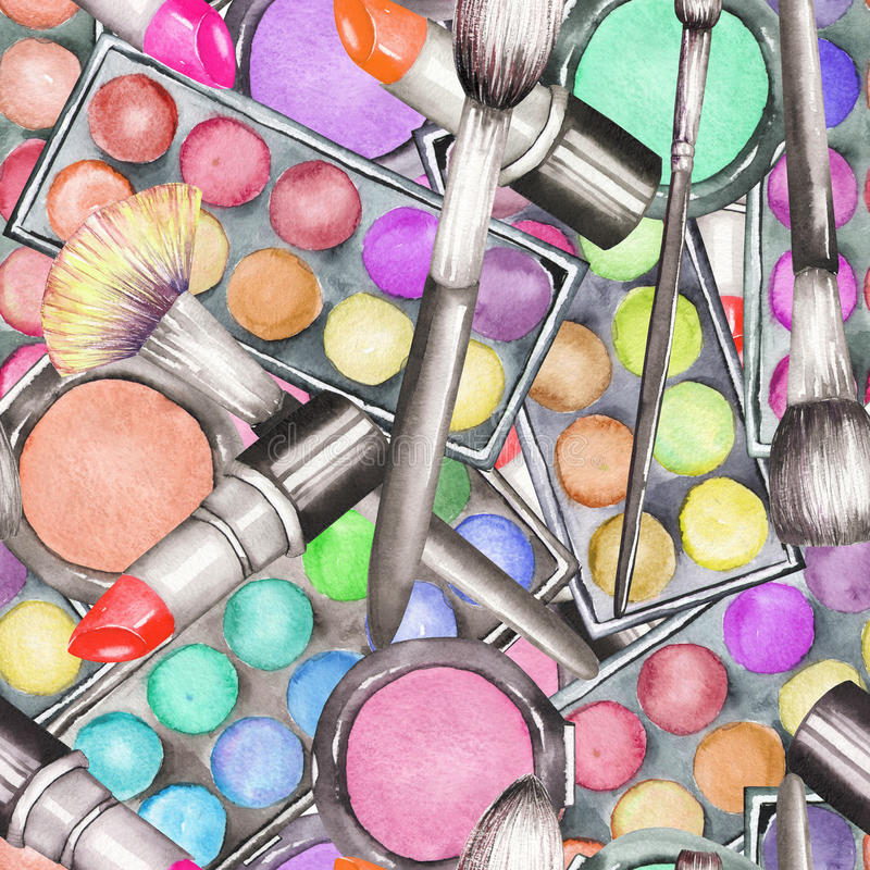 A seamless pattern with the watercolor makeup tools: blusher, eyeshadow, lipstick and makeup brushes. vector illustration