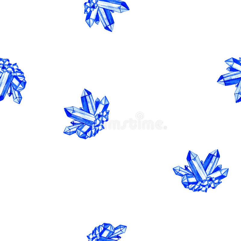 Seamless pattern with watercolor minerals, blue cristals. Seamless pattern with watercolor minerals, blue crystals, sapphire, gem stones at white background,hand royalty free illustration