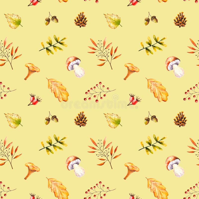 Seamless pattern with watercolor mushrooms, leaves, rowan, acorn, rosehip, cone. Illustration isolated. Hand drawn autumn items. Perfect for wallpaper, vintage royalty free illustration