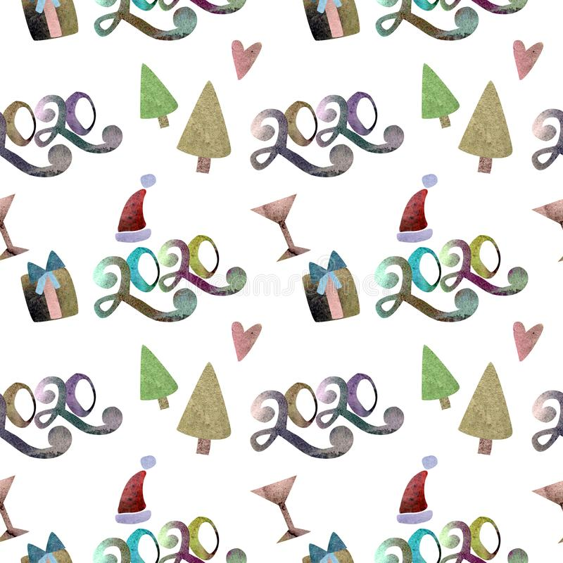 Seamless pattern watercolor NEW YEAR 2020 and Merry Christmas. stock illustration
