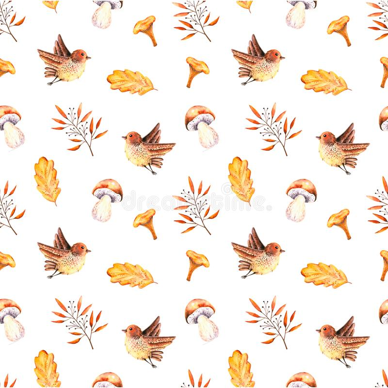 Seamless pattern with watercolor oak leaves, sprigs, mushrooms, bird. Illustration isolated on white. Hand drawn autumn items. Perfect for wallpaper, poster vector illustration