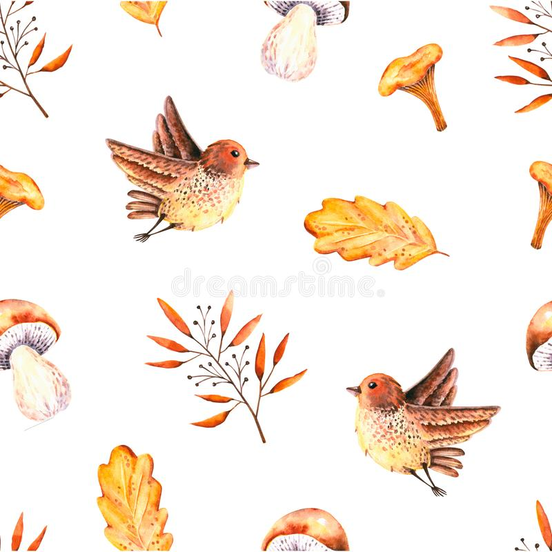Seamless pattern with watercolor oak leaves, sprigs, mushrooms, bird. Illustration isolated on white. Hand drawn autumn items. Perfect for wallpaper, poster royalty free illustration