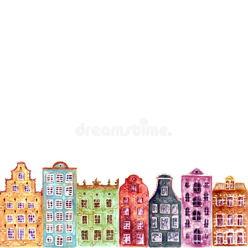 Seamless pattern of watercolor old europe houses. Old europe houses. Seamless pattern of watercolor colorful european amsterdam style houses. Watercolour hand royalty free illustration