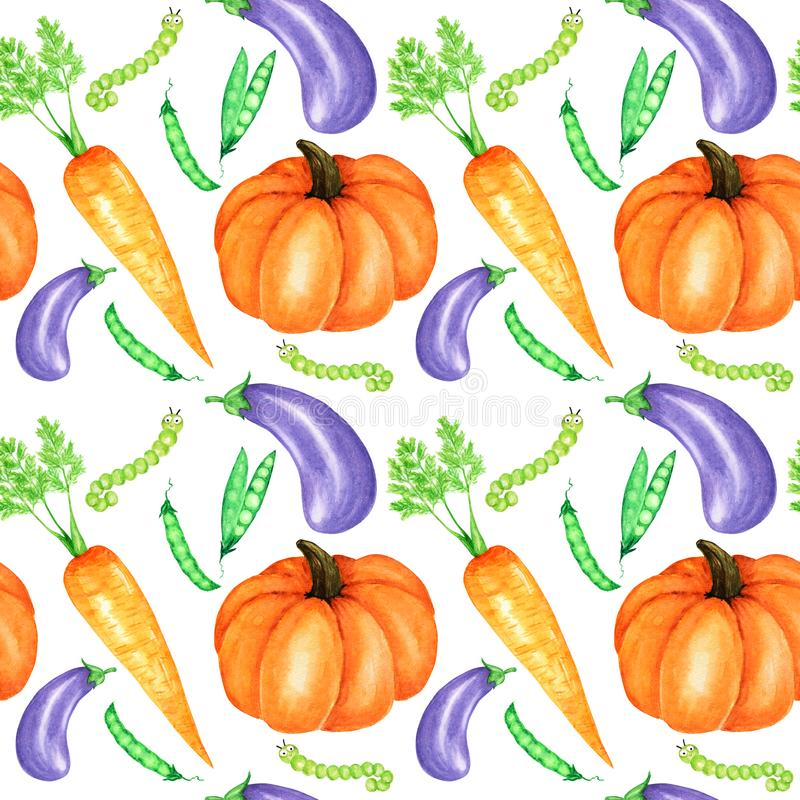 Seamless pattern Watercolor painted collection of orange vegetables pumpkin, eggplant, carrot, peas and caterpillar. Seamless pattern Watercolor painted royalty free stock photography