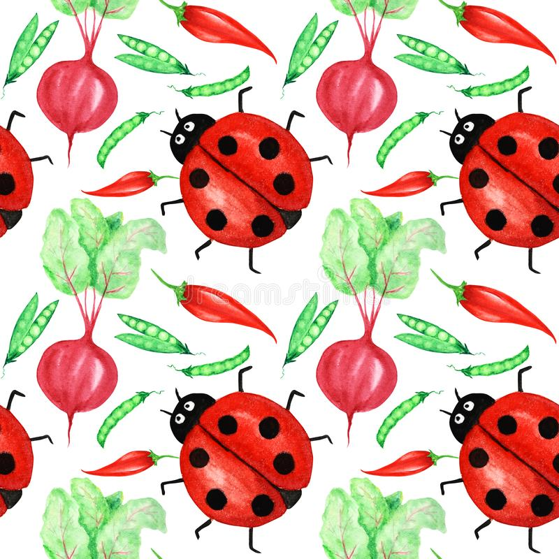 Seamless pattern Watercolor painted collection of red vegetables and ladybug insect. Hand drawn fresh vegan food design vector illustration