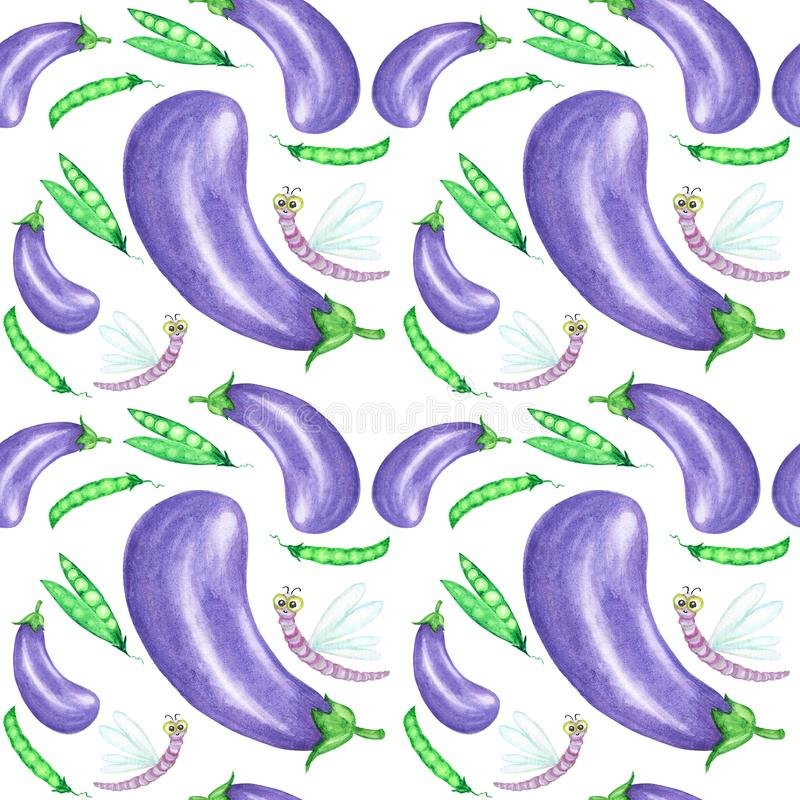 Seamless pattern Watercolor painted collection of vegetables purple eggplant and green peas. Hand drawn fresh vegan food stock images