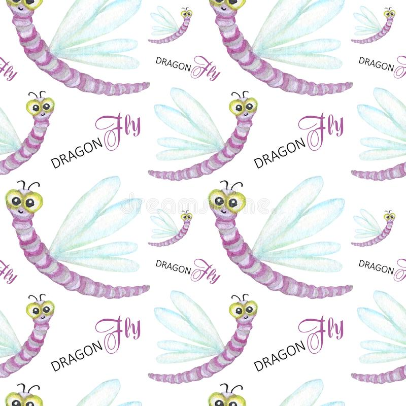 Seamless pattern Watercolor painted Funny bright cartoon insects collection. Dragonfly on withe background. Beautiful. Seamless pattern Watercolor painted Funny vector illustration