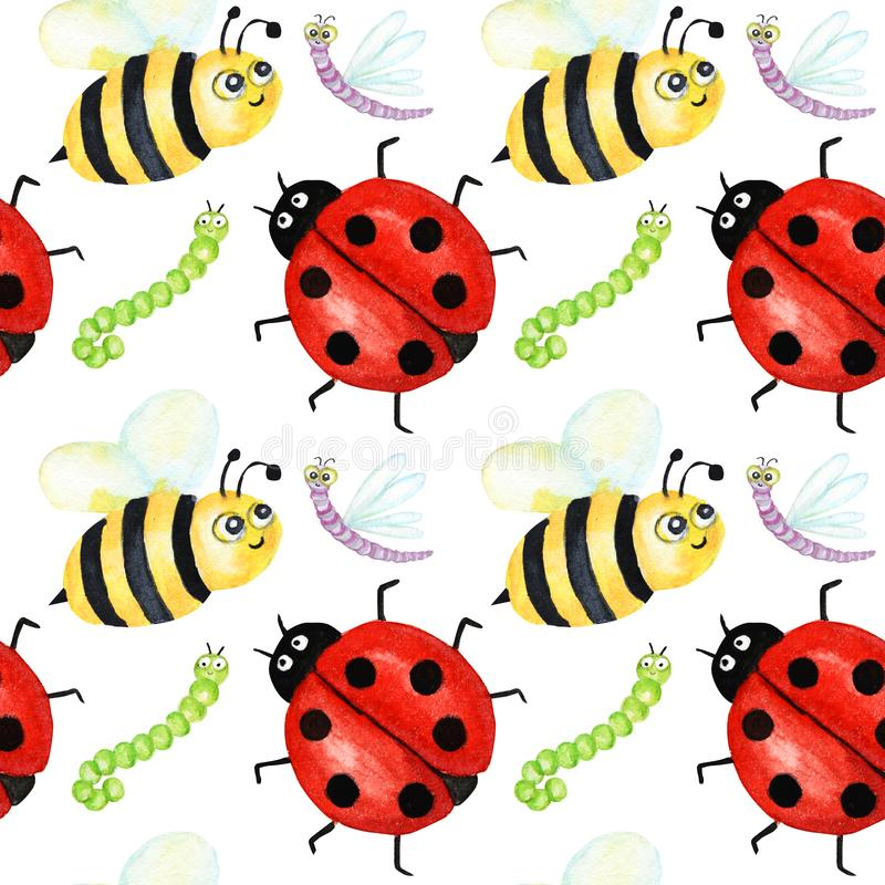 Seamless pattern Watercolor painted Funny bright cartoon insects collection. Wasp, bee, bumblebee, worm, caterpillar vector illustration