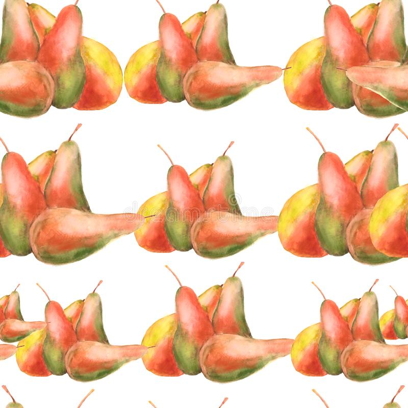 Seamless pattern with watercolor painted pears royalty free illustration