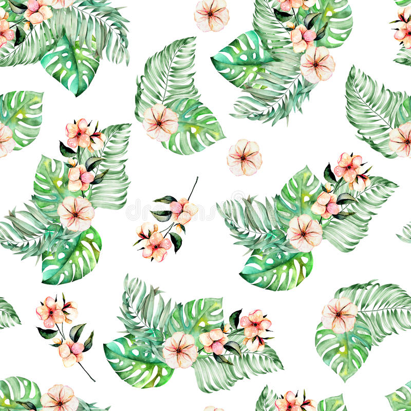 Seamless pattern with watercolor palm and monstera leaves, exotic pink flowers royalty free illustration
