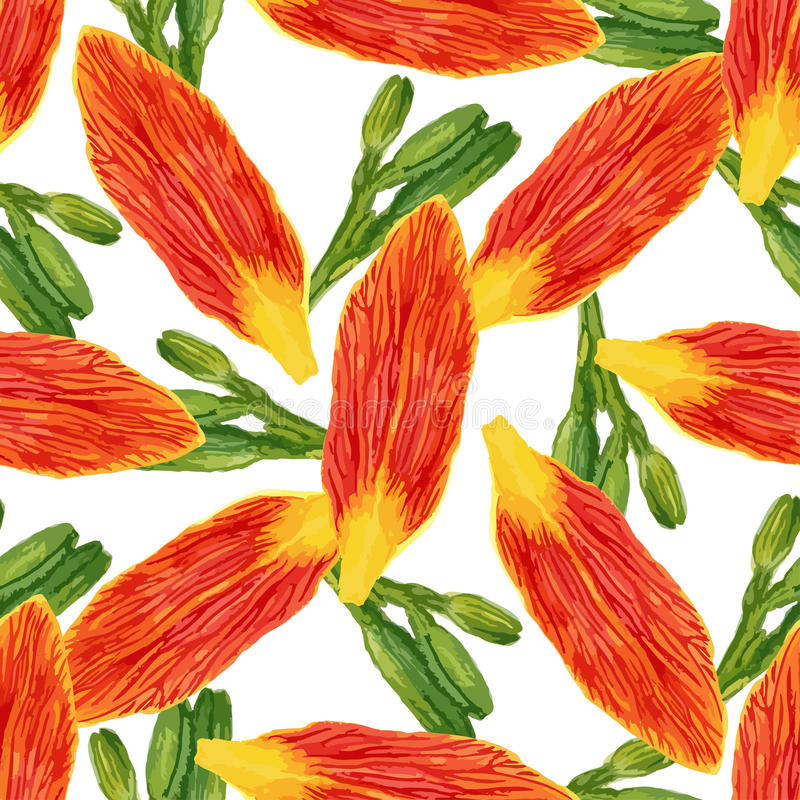 Seamless pattern with watercolor petals flowers and buds. Lilies background for wallpaper, textile, fabric or packaging design. stock image