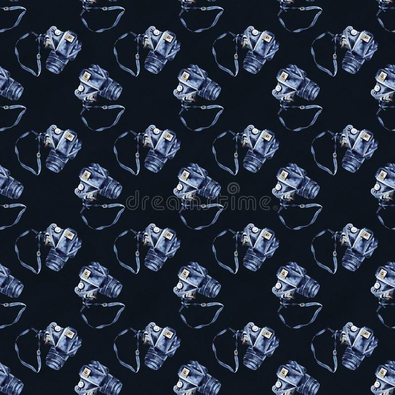Seamless pattern with watercolor photo camera. Background with hand painted camera perfect for textile and scrapbooking. stock illustration