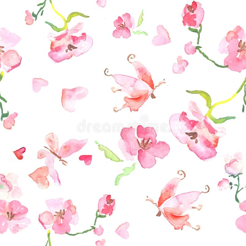 Seamless pattern of watercolor pink blooming flowers and butterfly, Valentines Day, Mothers Day vector illustration